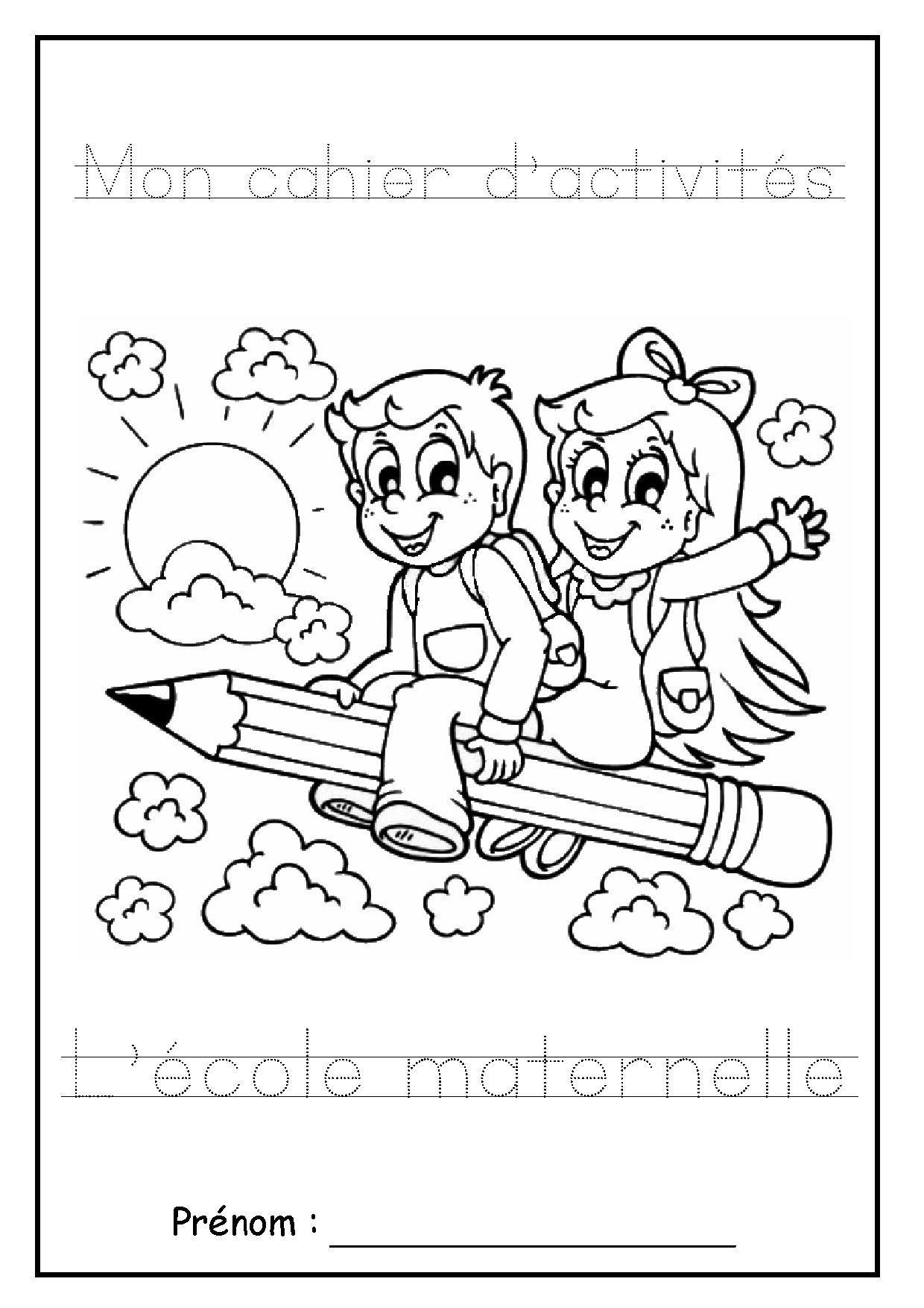 """Page De Garde Cahier D'activités """"l'école Maternelle"""" pour Coloriage Classe Maternelle"""