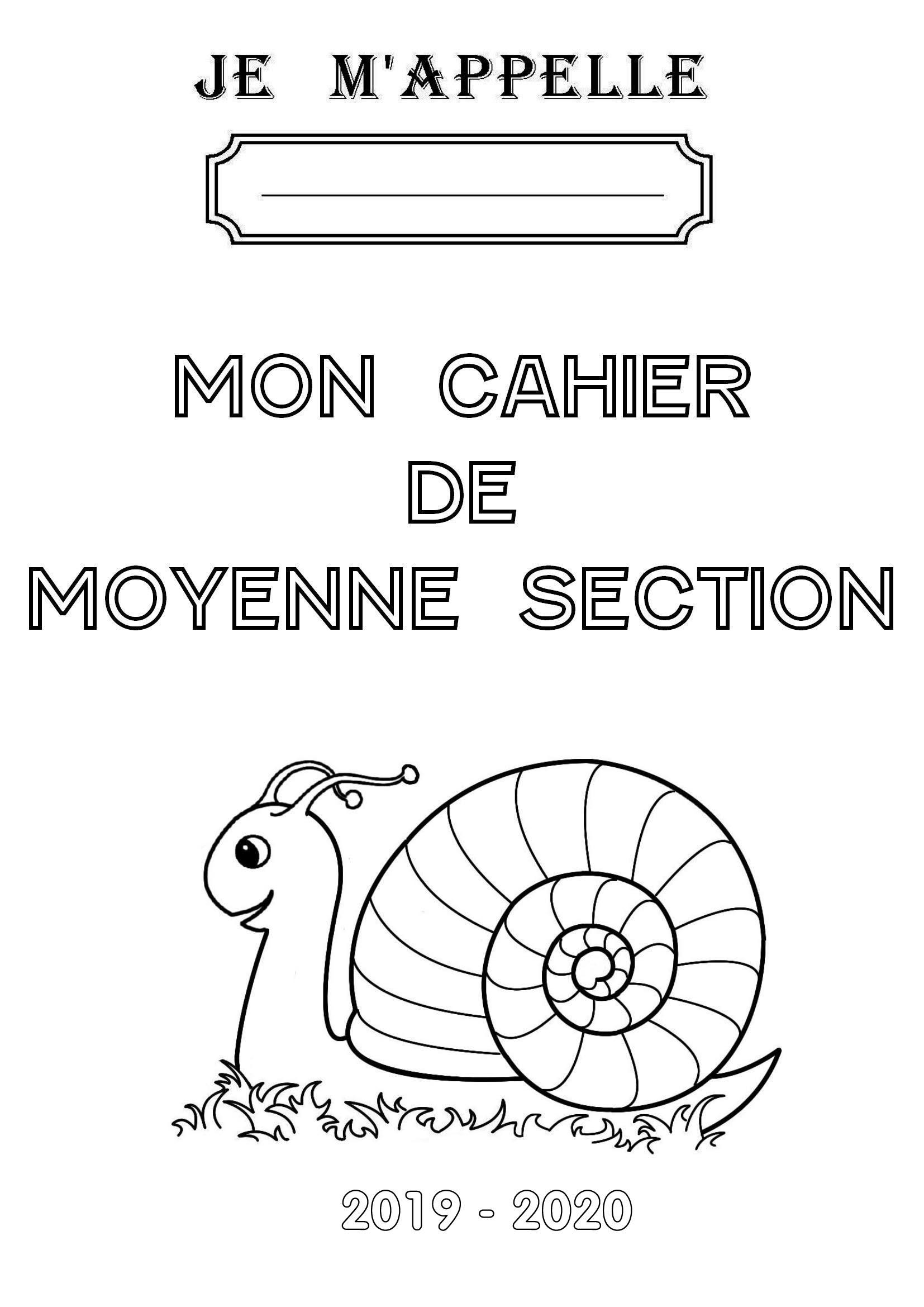 Page De Garde De Mon Cahier De Moyenne Section à Activité Moyenne Section