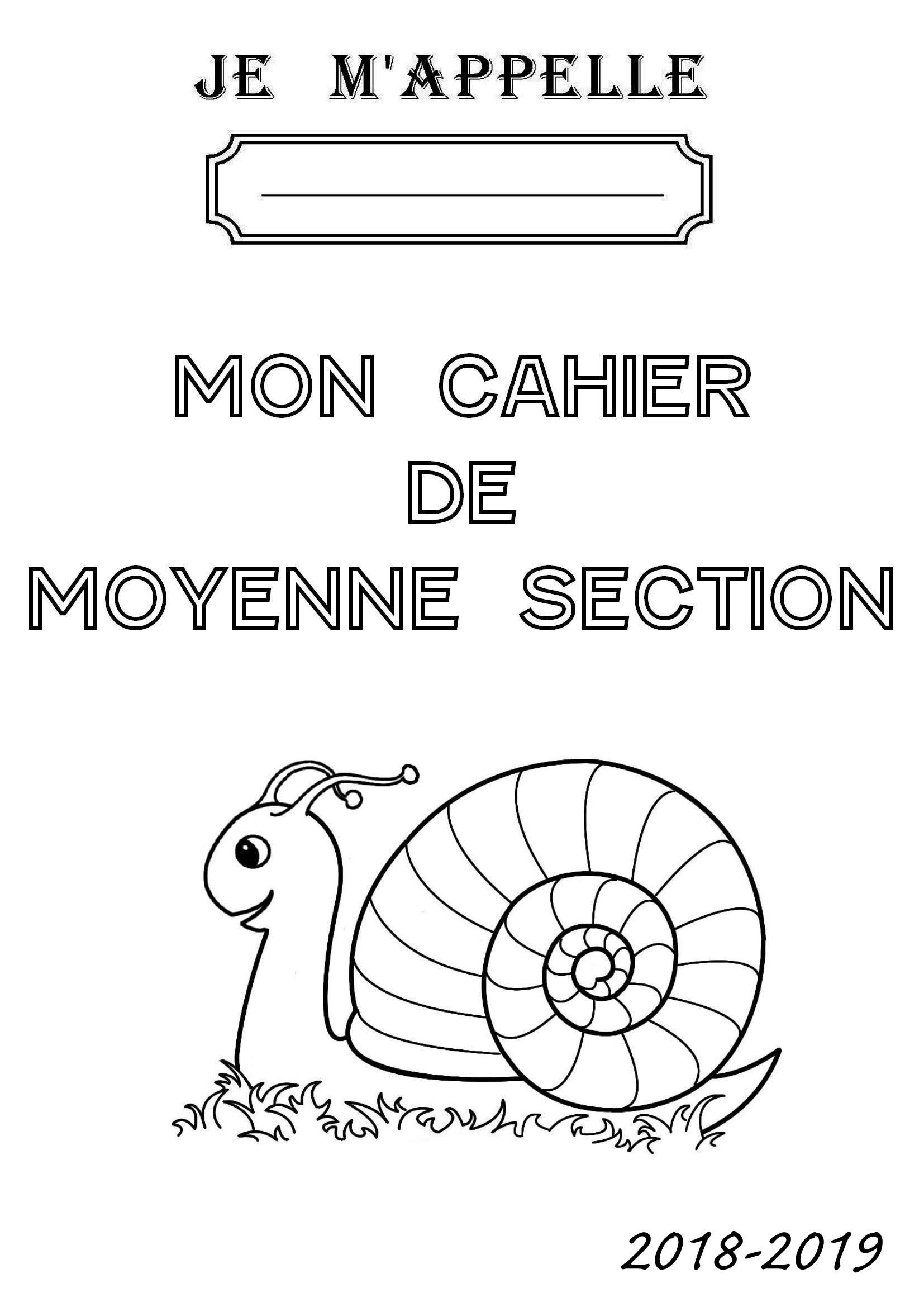Page De Garde De Mon Cahier De Moyenne Section serapportantà Coloriage Moyenne Section À Imprimer