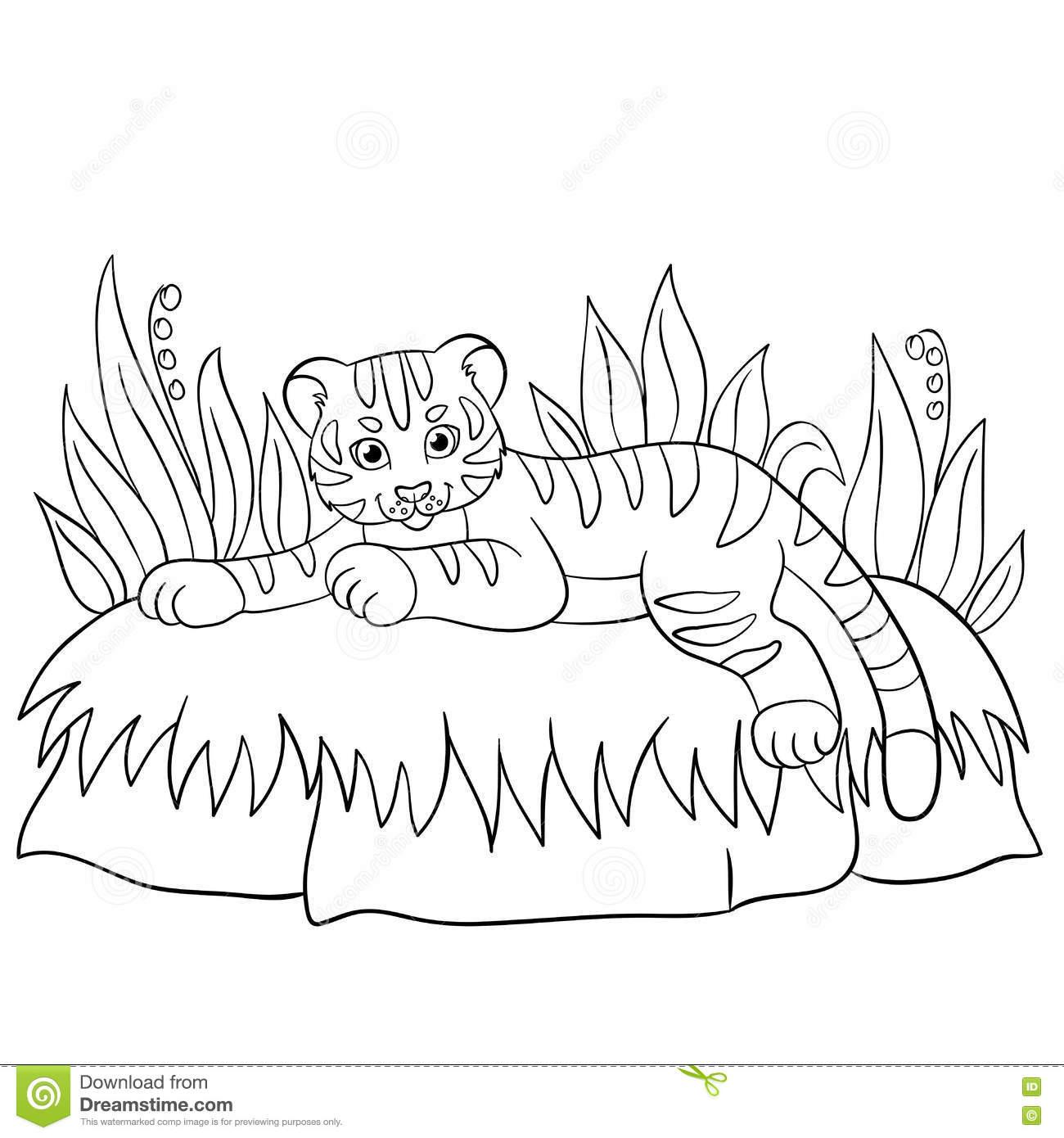 Pages De Coloration Animaux Sauvages Petits Sourires Mignons intérieur Coloriage Bébé Tigre