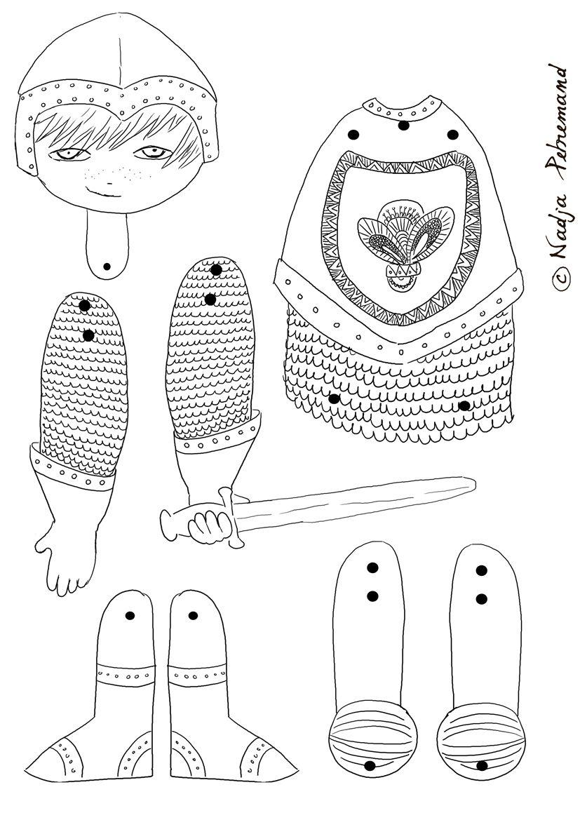 Pantin Chevalier À Colorier | Artisanats Médiévaux destiné Dessin Pantin