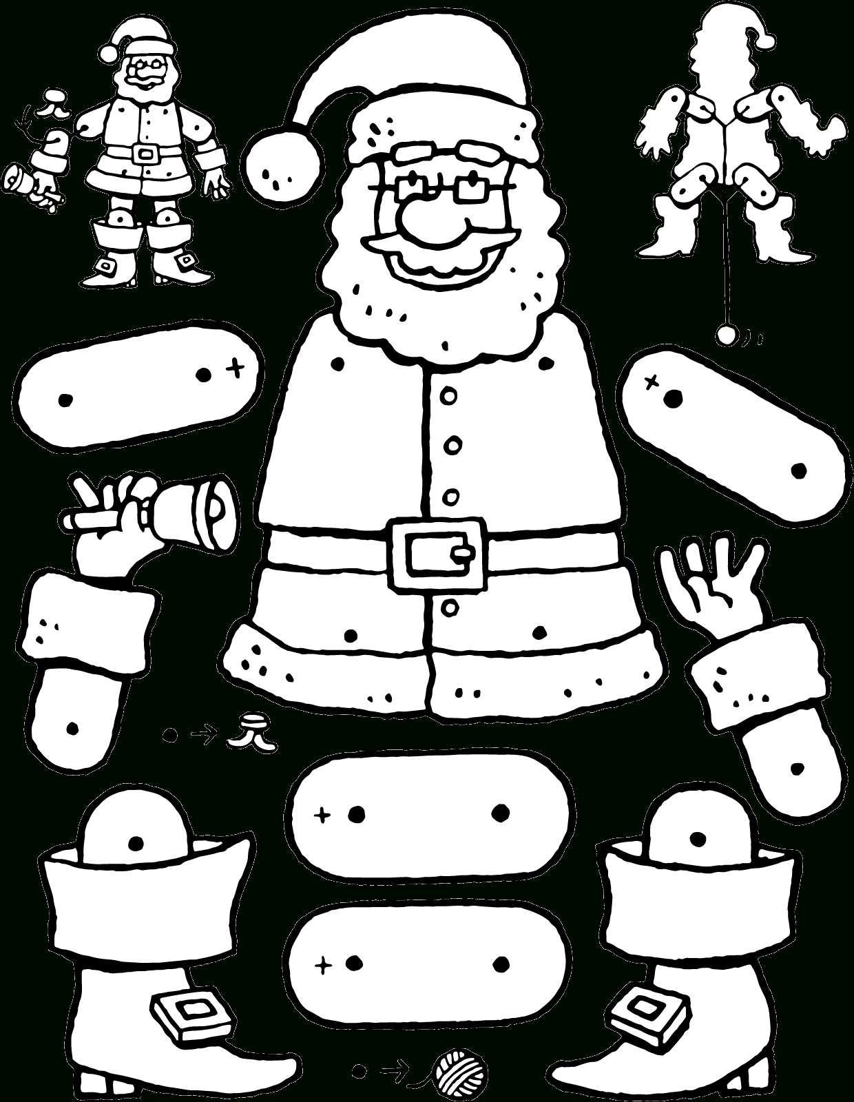 Pantin Père Noël - Kiddicoloriage intérieur Dessin Pantin