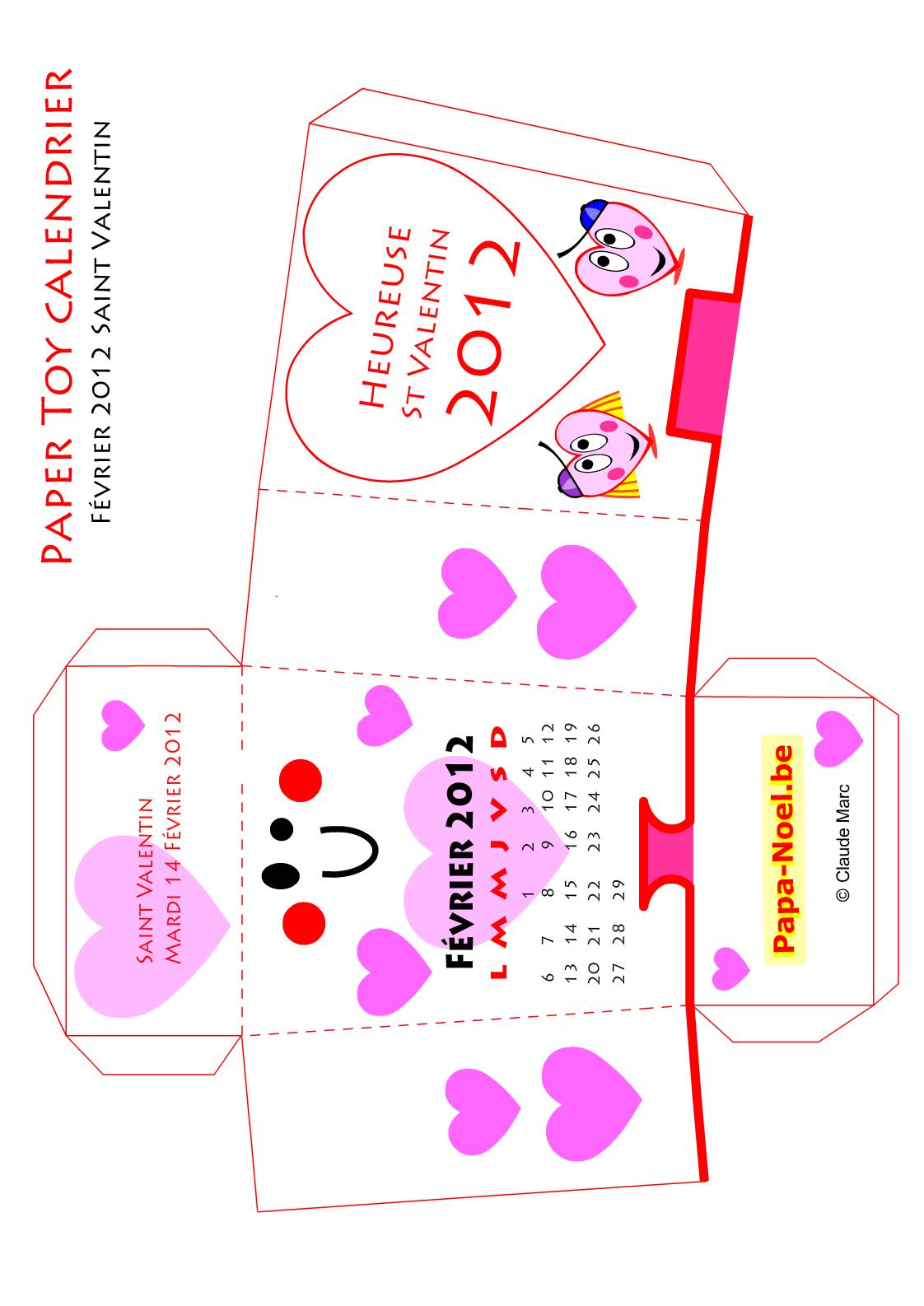 Paper Toy Calendrier De Fevrier 2012 Saint Valentin avec Bricolage À Imprimer Gratuit