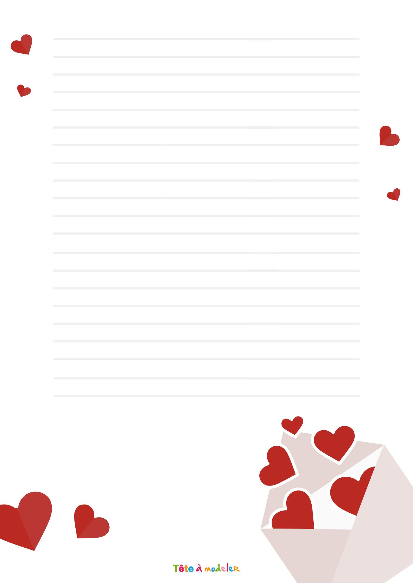 Papier À Lettre Lettre D'amour - Tête À Modeler concernant Papier À Lettre Gratuit À Imprimer