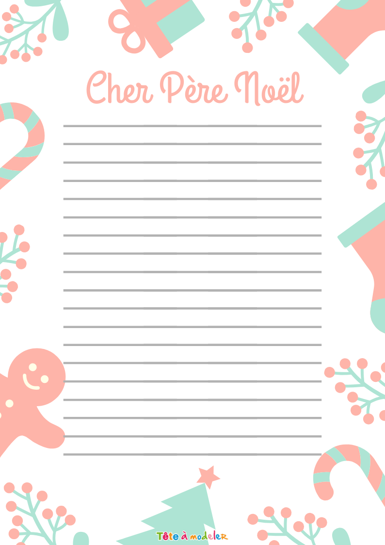 """Papier À Lettre Pere Noël """"usé"""" - Tête À Modeler pour Papier À Lettre Père Noel À Imprimer Gratuitement"""