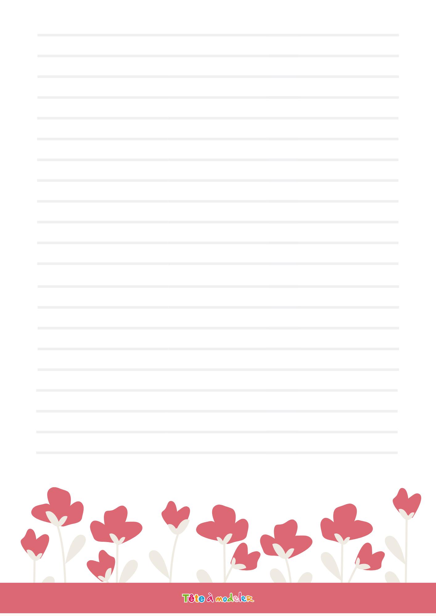 Papier À Lettre Petites Fleurs - Tête À Modeler tout Papier À Lettre Gratuit À Imprimer