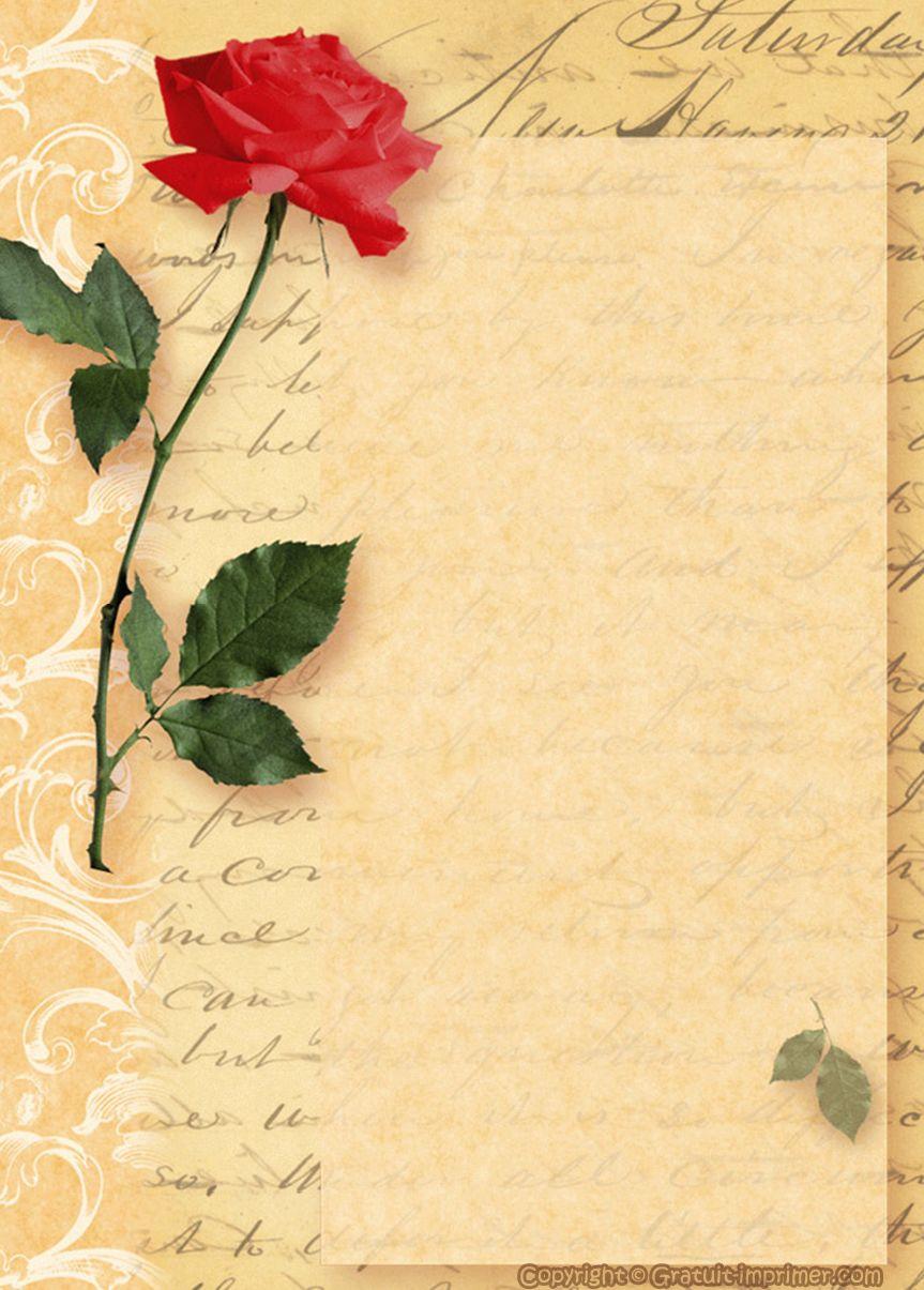 Papier À Lettres | Papier À Lettre D'amour A Imprimer destiné Papier À Lettre Gratuit À Imprimer