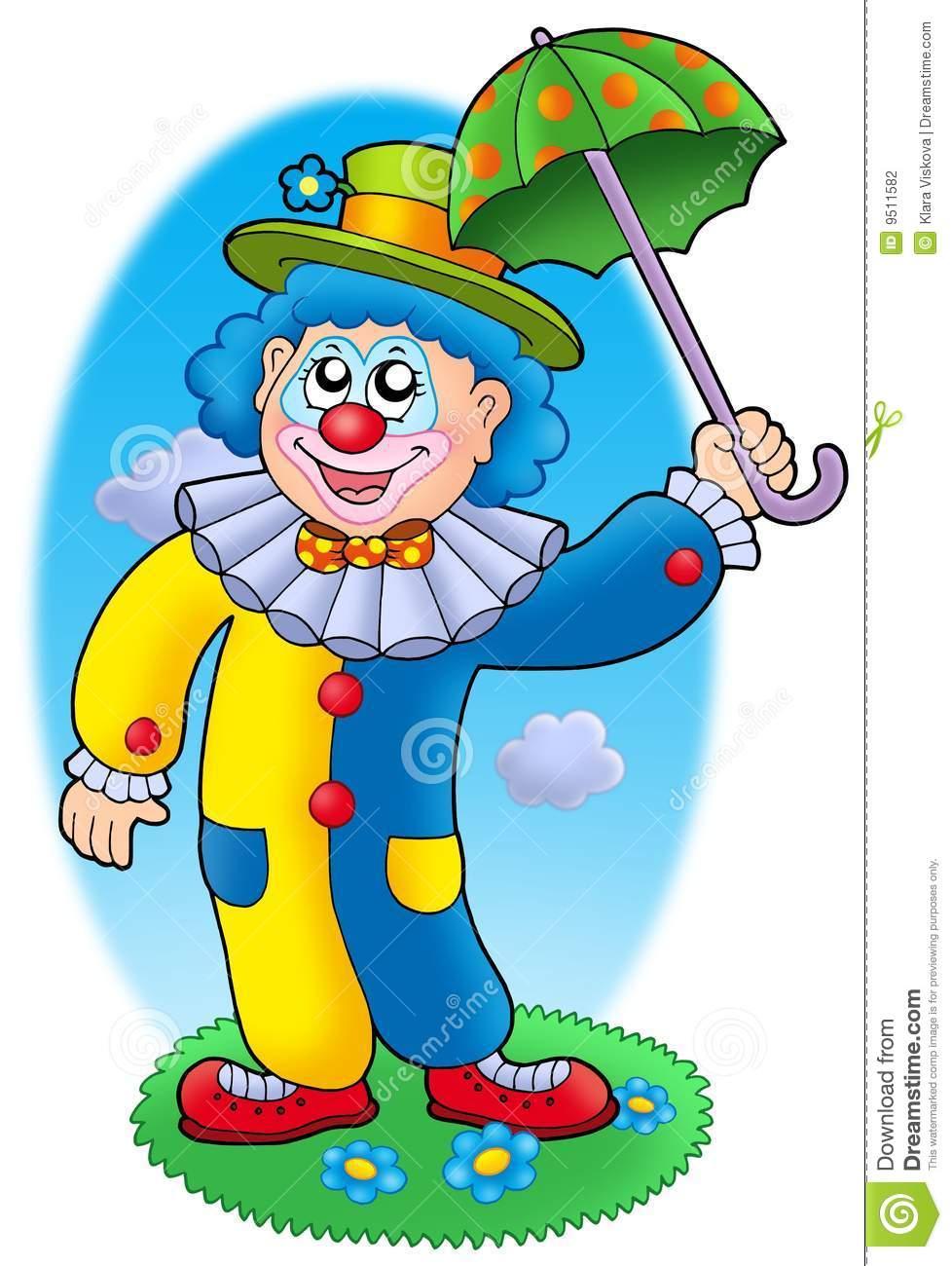 Parapluie De Fixation De Clown De Dessin Animé Illustration pour Dessin De Clown En Couleur