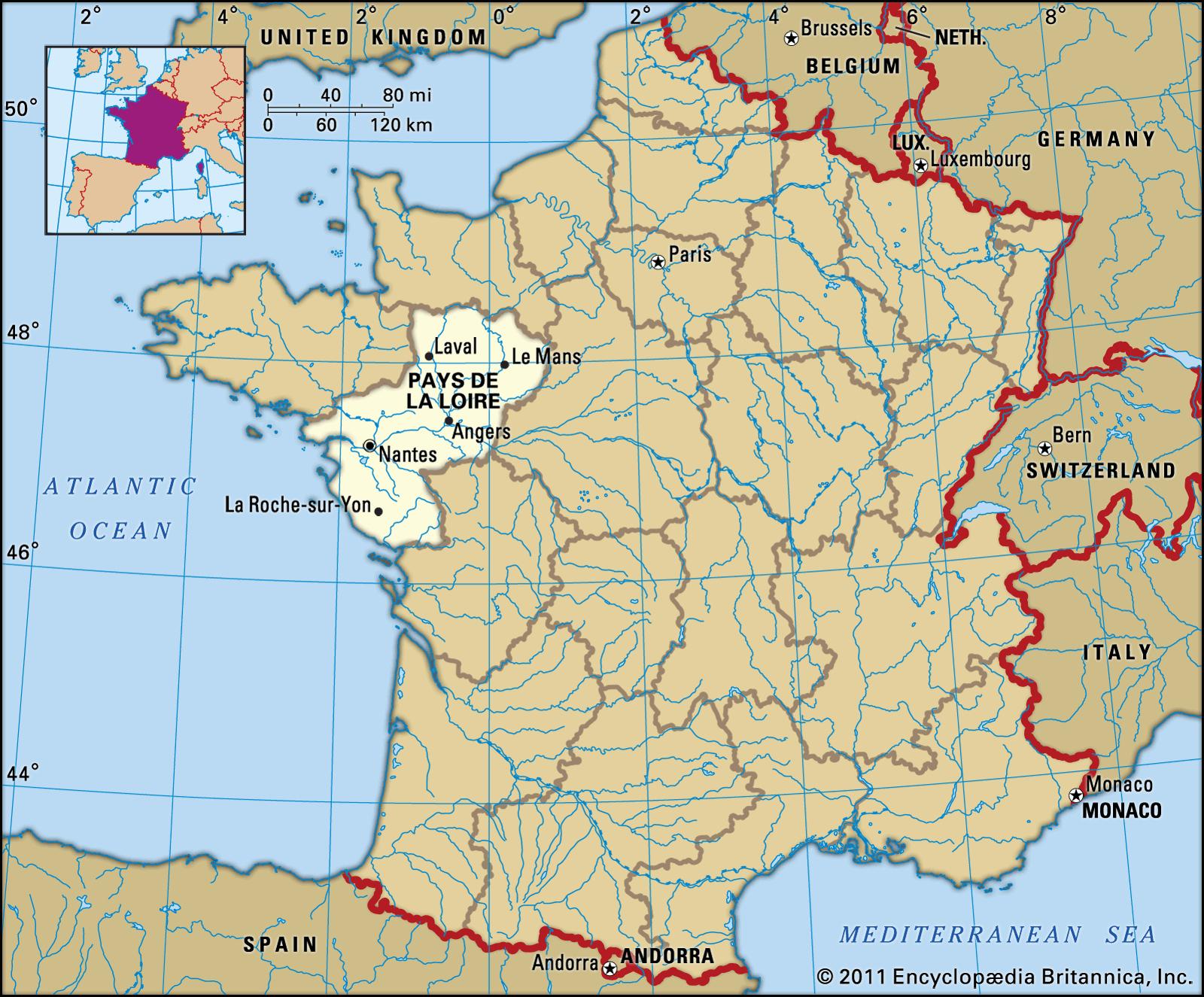 Pays De La Loire | History, Geography, & Points Of Interest concernant Combien Yat Il De Region En France