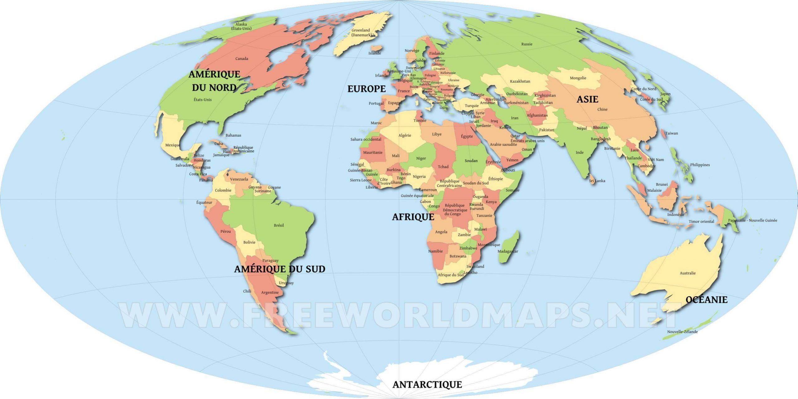 Pays Du Monde - Carte Des Pays Du Monde dedans Carte Du Monde Avec Continent