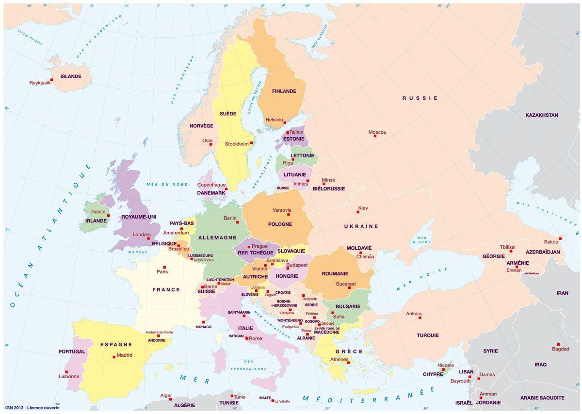 Pays Et Capitales D'europe, Avec Toponymes   Carte Europe intérieur Les Capitales D Europe