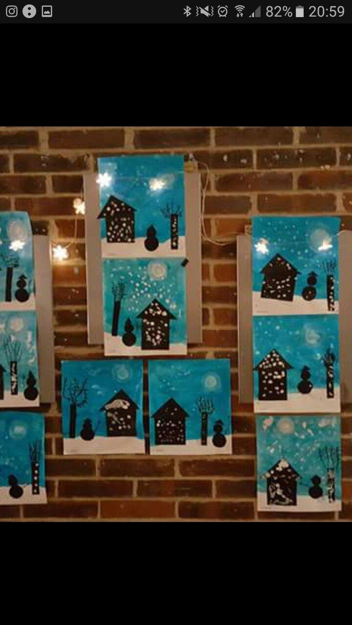 Paysage D'hiver Maternelle Peinture | Paysage Hiver intérieur Activité Manuelle Hiver Primaire