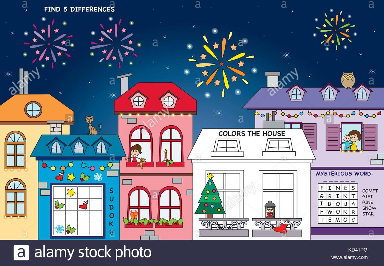 Paysage Pour Noël Avec Quatre Jeux : Trouver Les Différences avec Jeux Quatre Image Pour Un Mot