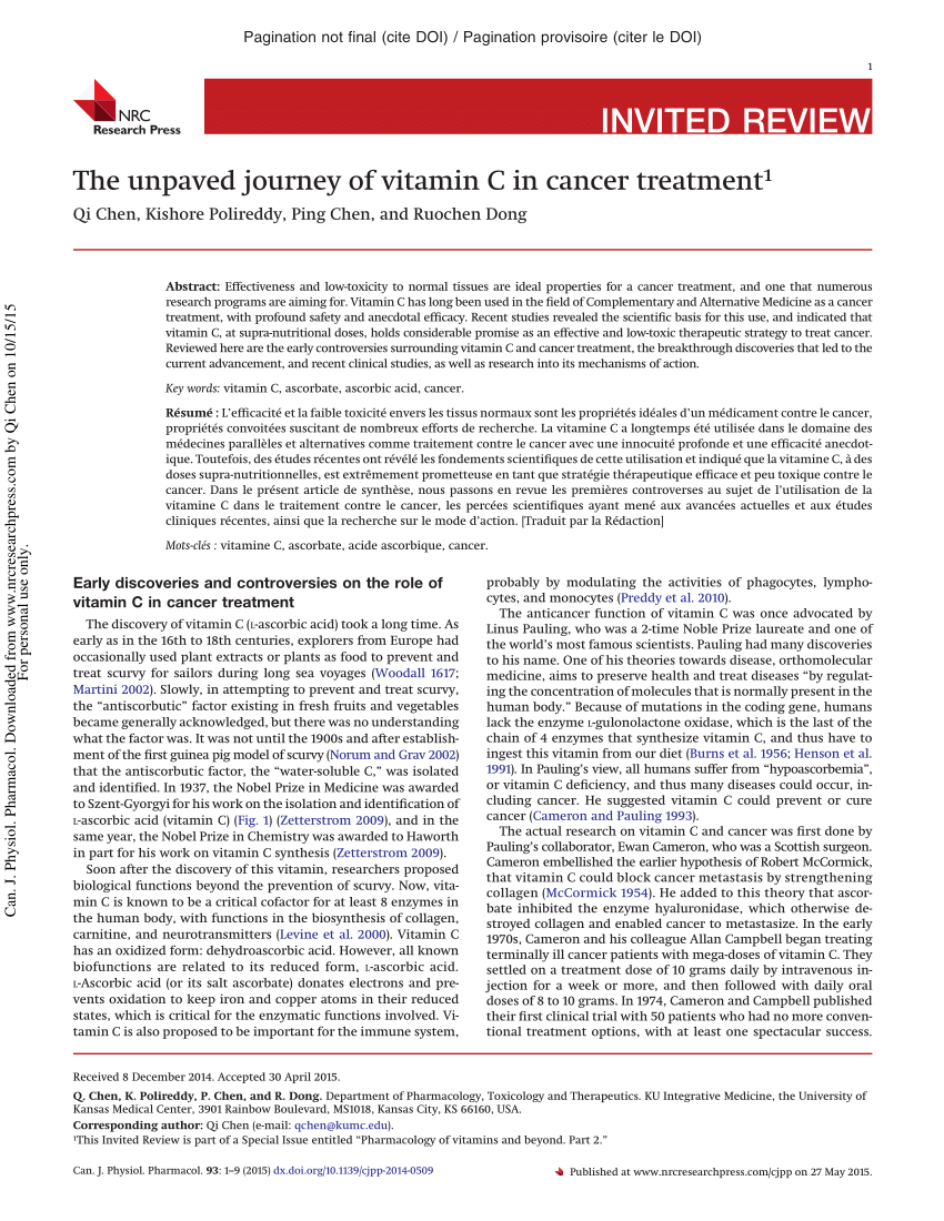 Pdf) An Unpaved Journey Of Vitamin C In Cancer Treatment tout Qi Devine Le Mot