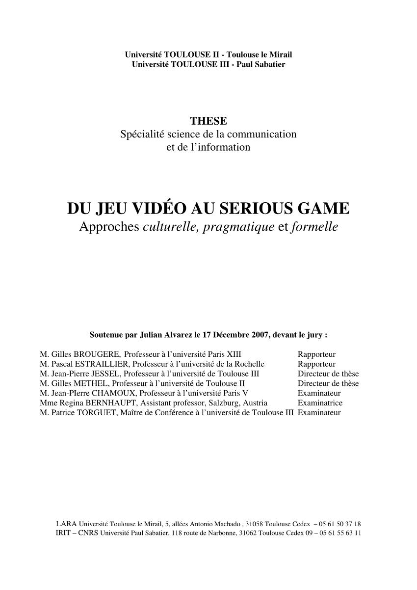 Pdf) Du Jeu Vidéo Au Serious Game Approches Culturelle à Adibou 2 Télécharger Gratuit