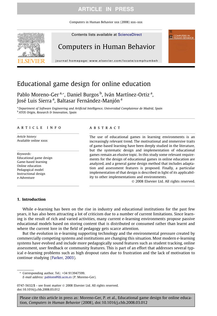 Pdf) Educational Game Design For Online Education serapportantà Jeux De Course Online