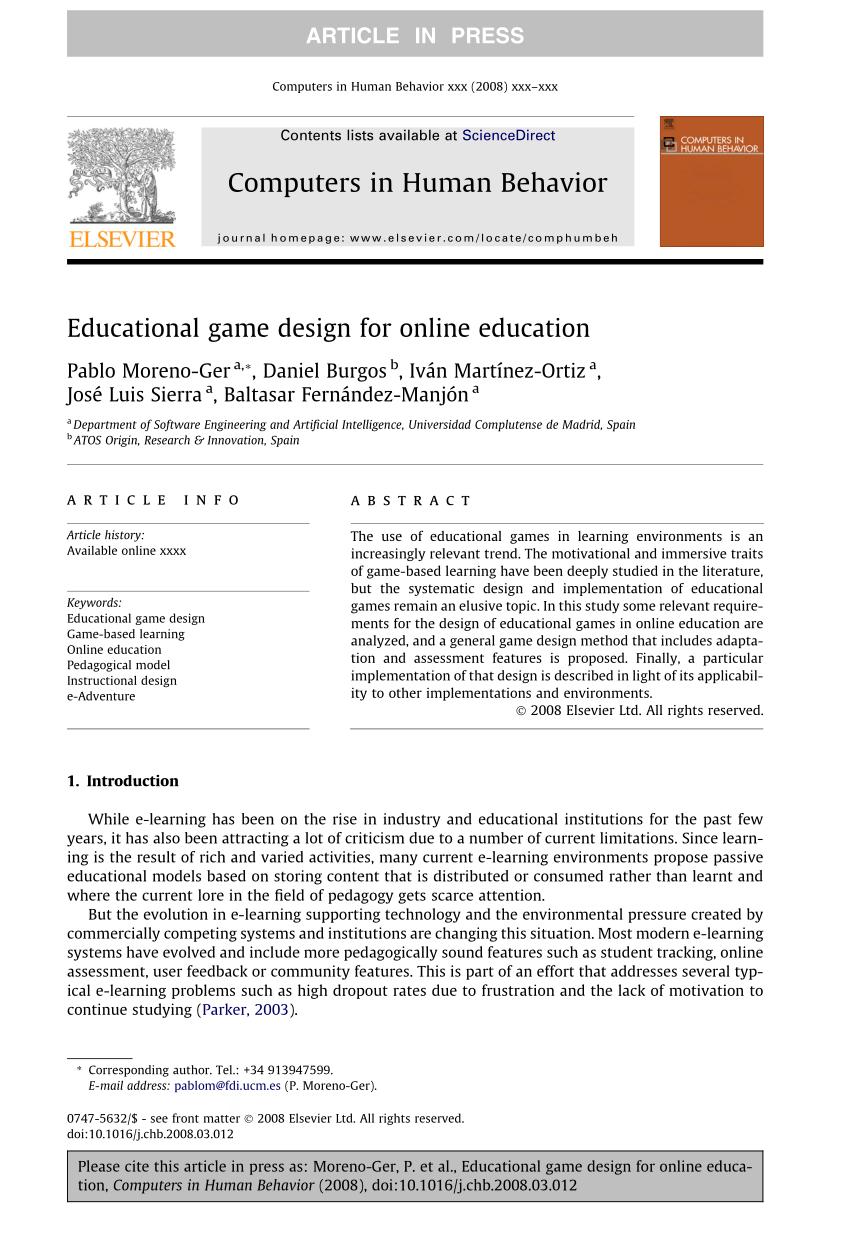 Pdf) Educational Game Design For Online Education serapportantà Jeux De Course Online