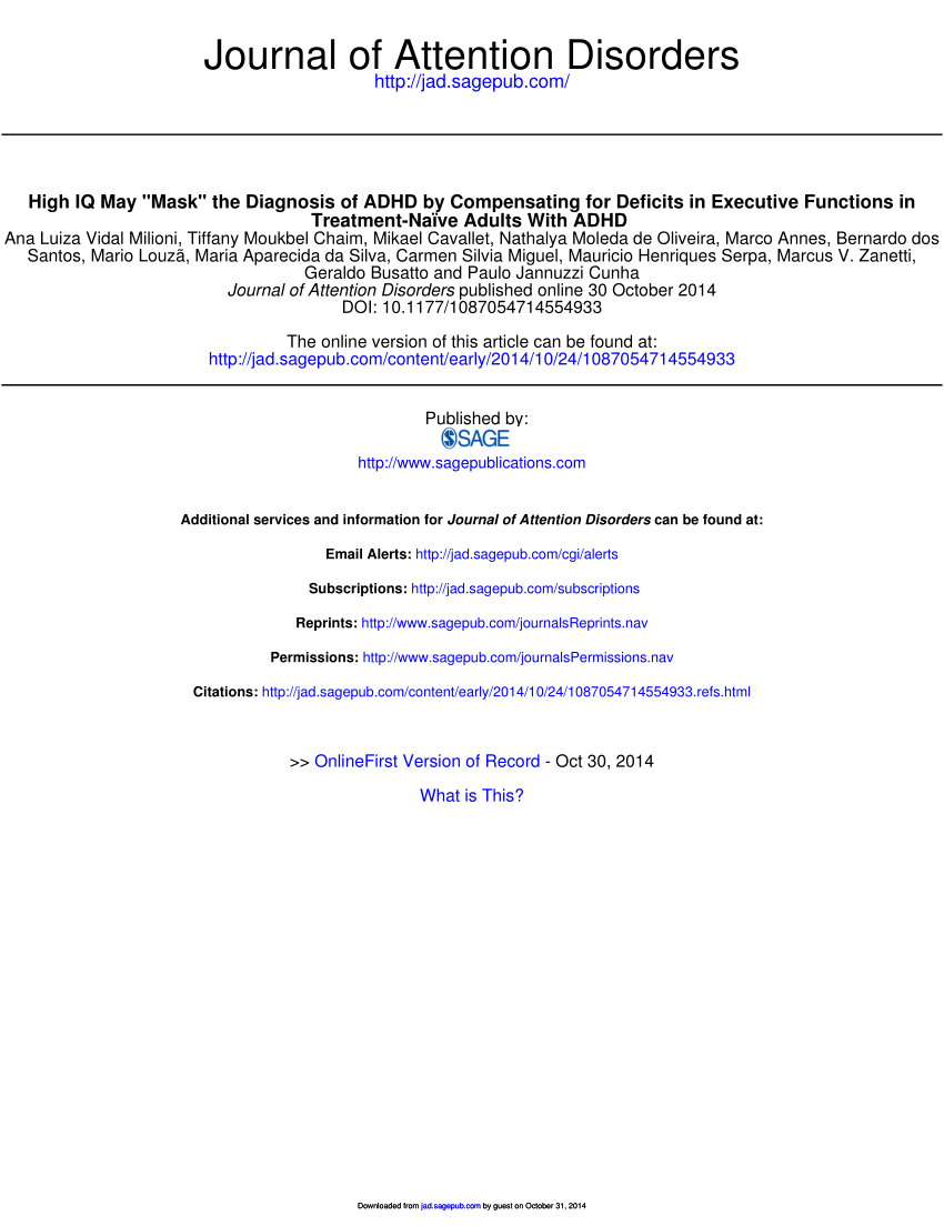 "Pdf) High Iq May ""mask"" The Diagnosis Of Adhd By tout Qi Devine Le Mot"