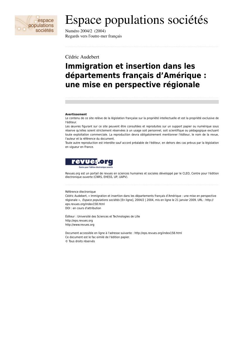 Pdf) Immigration Et Insertion Dans Les Départements Français concernant Numero Des Departements Francais