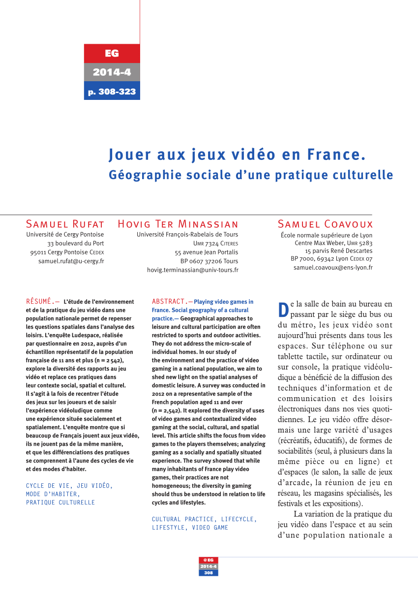 Pdf) Jouer Aux Jeux Vidéo En France. Géographie Sociale D dedans Jeu Geographie France