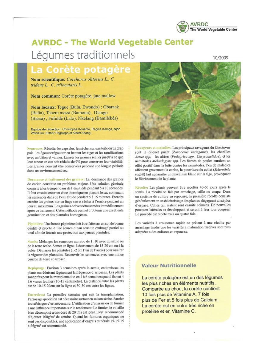 Pdf) Legumes Traditionnels: La Corete Potagere destiné Nom Legume