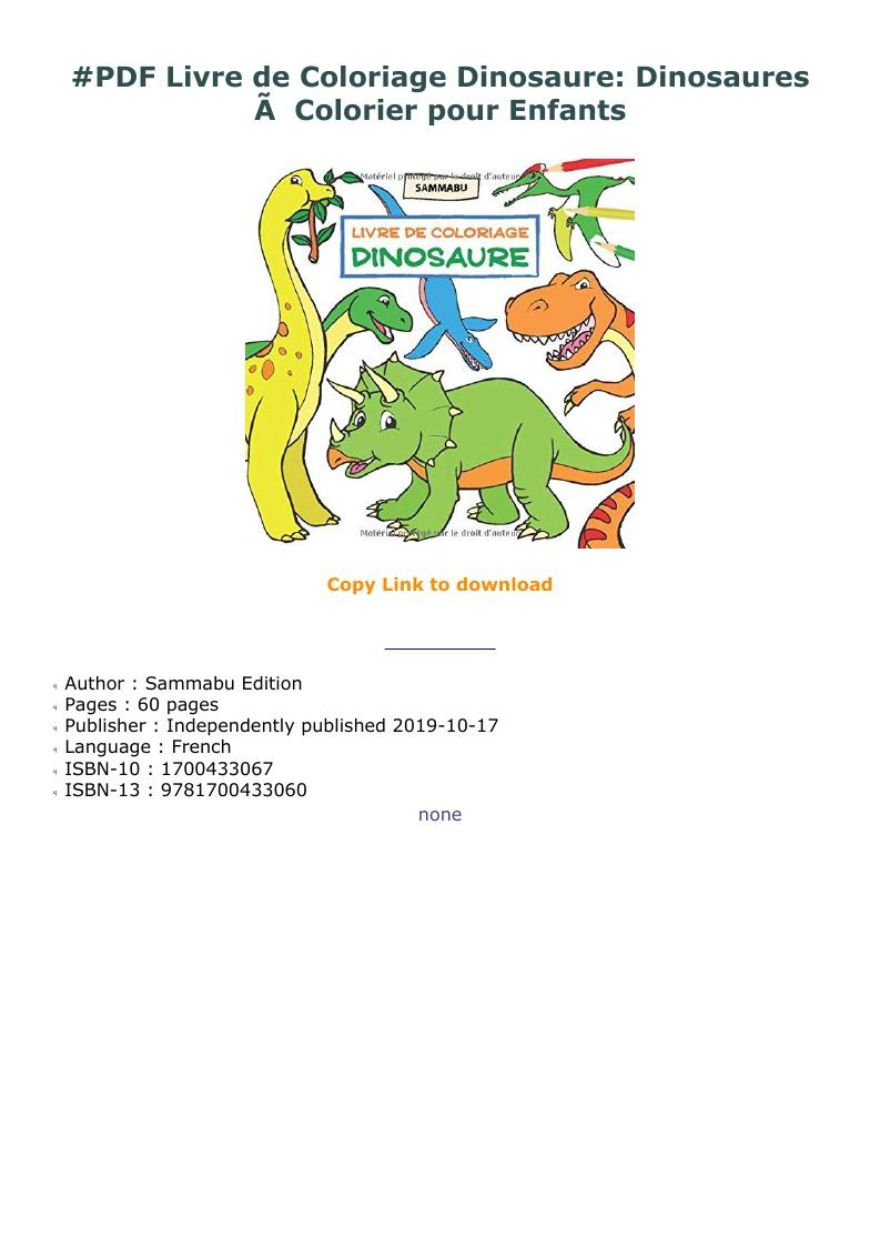 Pdf Livre De Coloriage Dinosaure: Dinosaures à Colorier Pour serapportantà Cahier De Coloriage Enfant