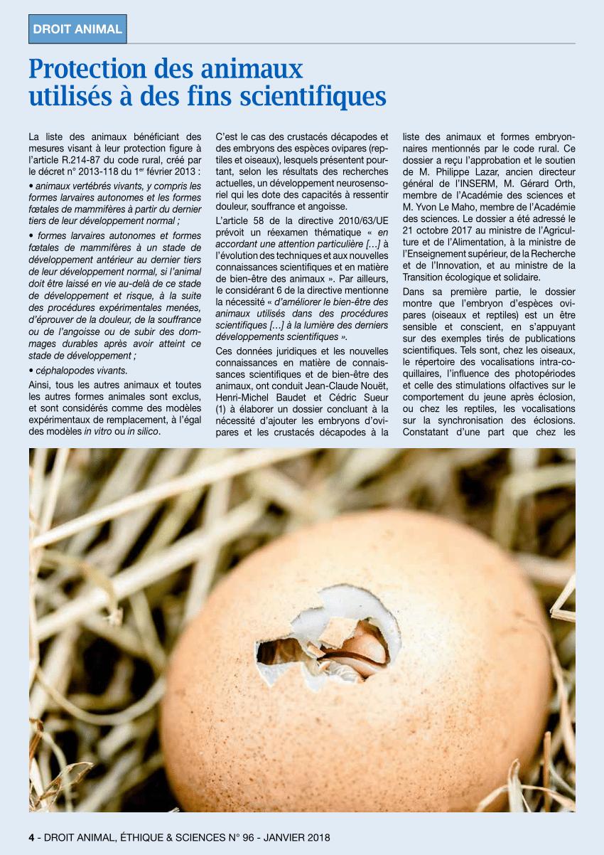 Pdf) Protection Des Animaux Utilisés À Des Fins Scientifiques à Animaux Ovipares Liste