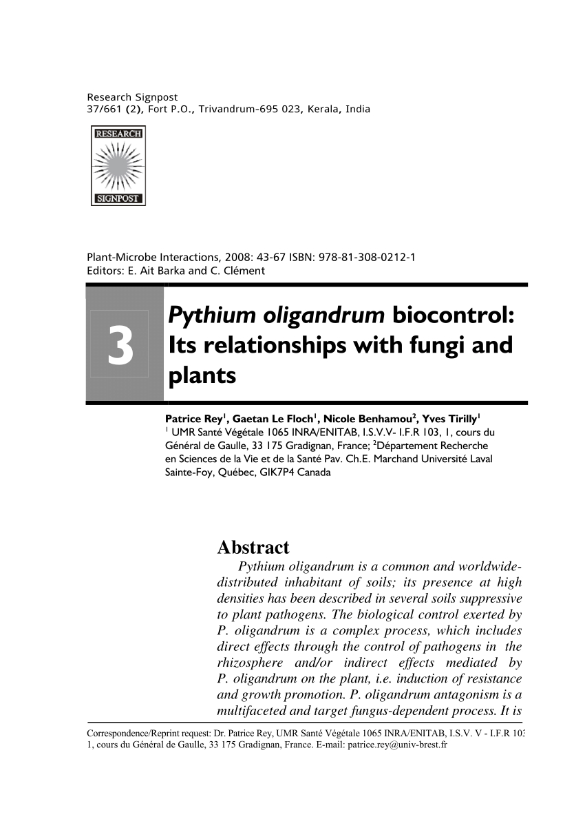 Pdf) Pythium Oligandrum Biocontrol: Its Relationships With concernant Departement Francais 39
