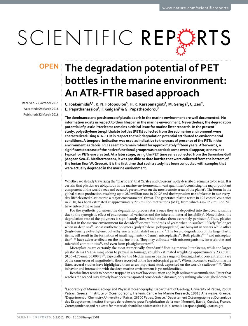 Pdf) The Degradation Potential Of Pet Bottles In The Marine à Departement Francais 39