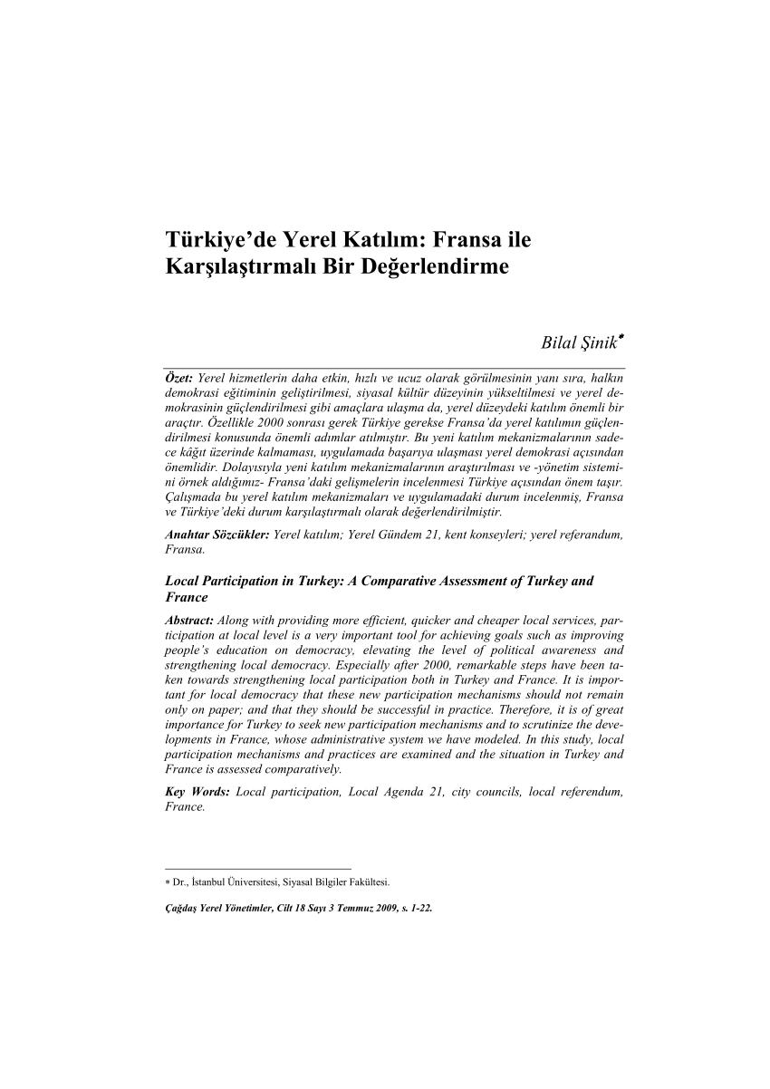 Pdf) Türkiye'de Yerel Katılım: Fransa Ile Karşılaştırmalı à Departement 22 Region