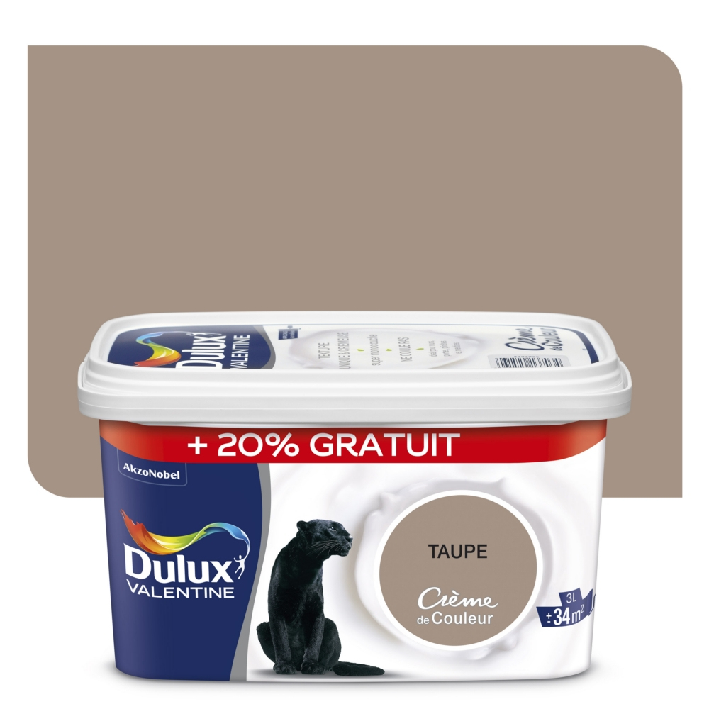 Peinture Dulux Valentine Crème De Couleur Taupe 2.5L+20% avec Code Couleur Taupe