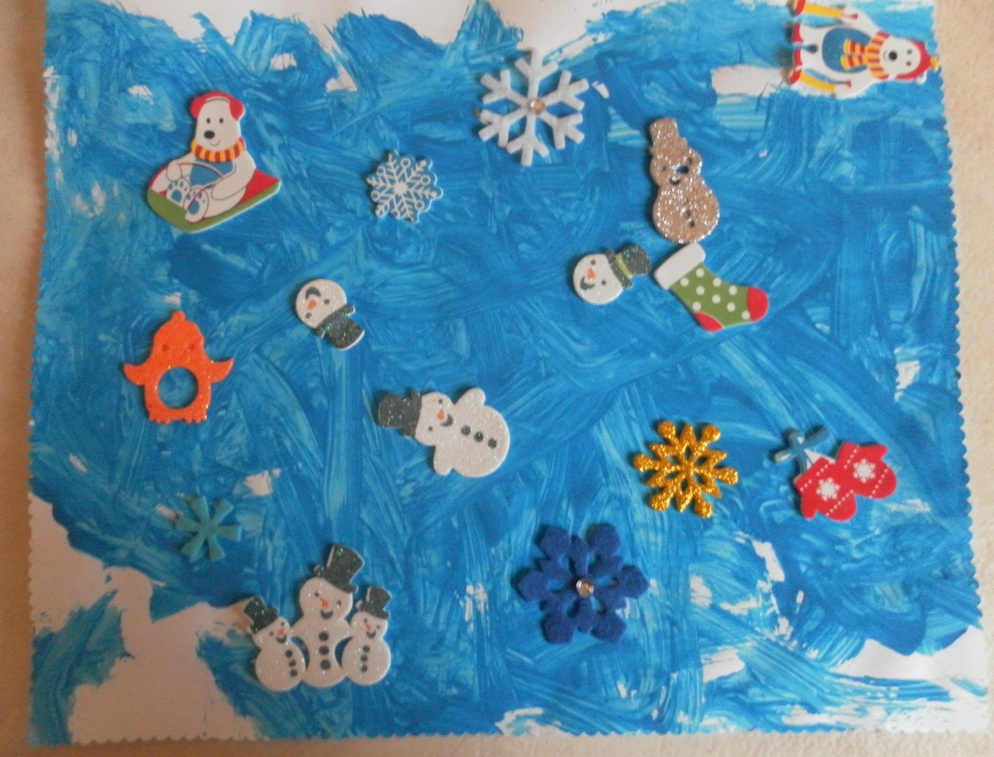Peinture Et Gommettes Tableau Hiver - Assistante Maternelle intérieur Activité Maternelle Hiver