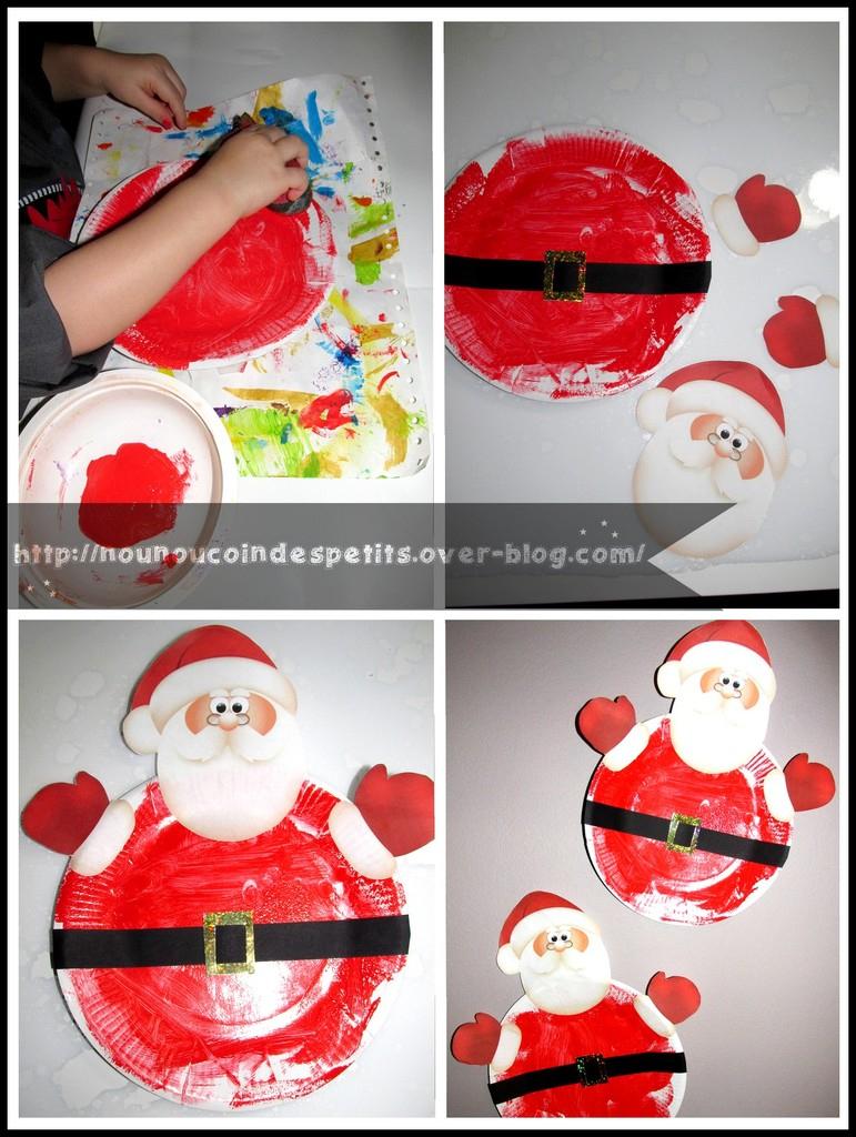Père Noel ( Assiette En Carton ) - Le Blog De serapportantà Activité De Noel Maternelle