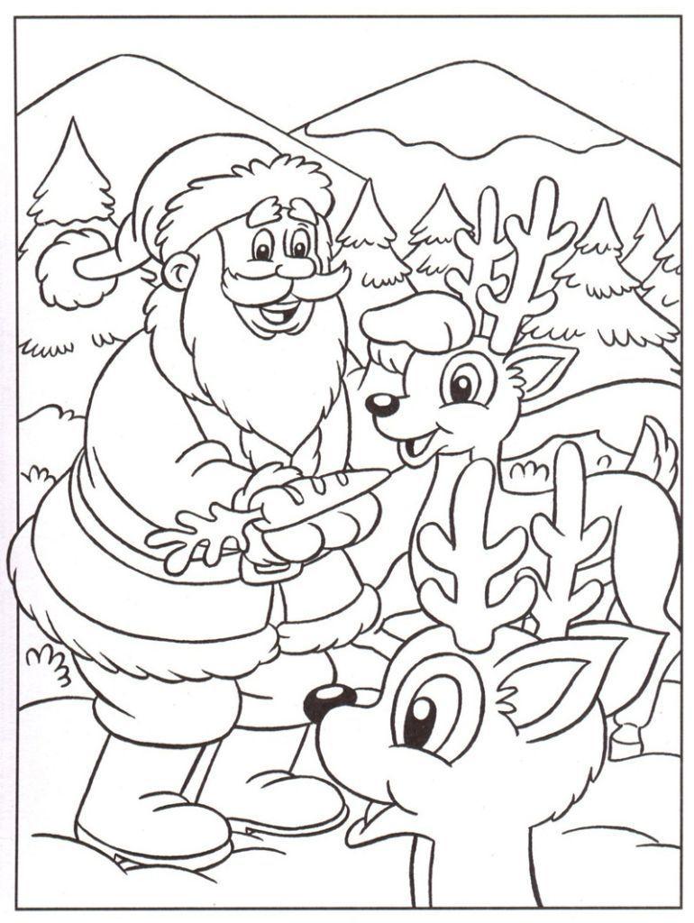 Père Noël Et Petits Rennes - Coloriage Père Noël | Coloriage à Dessin À Imprimer Pere Noel