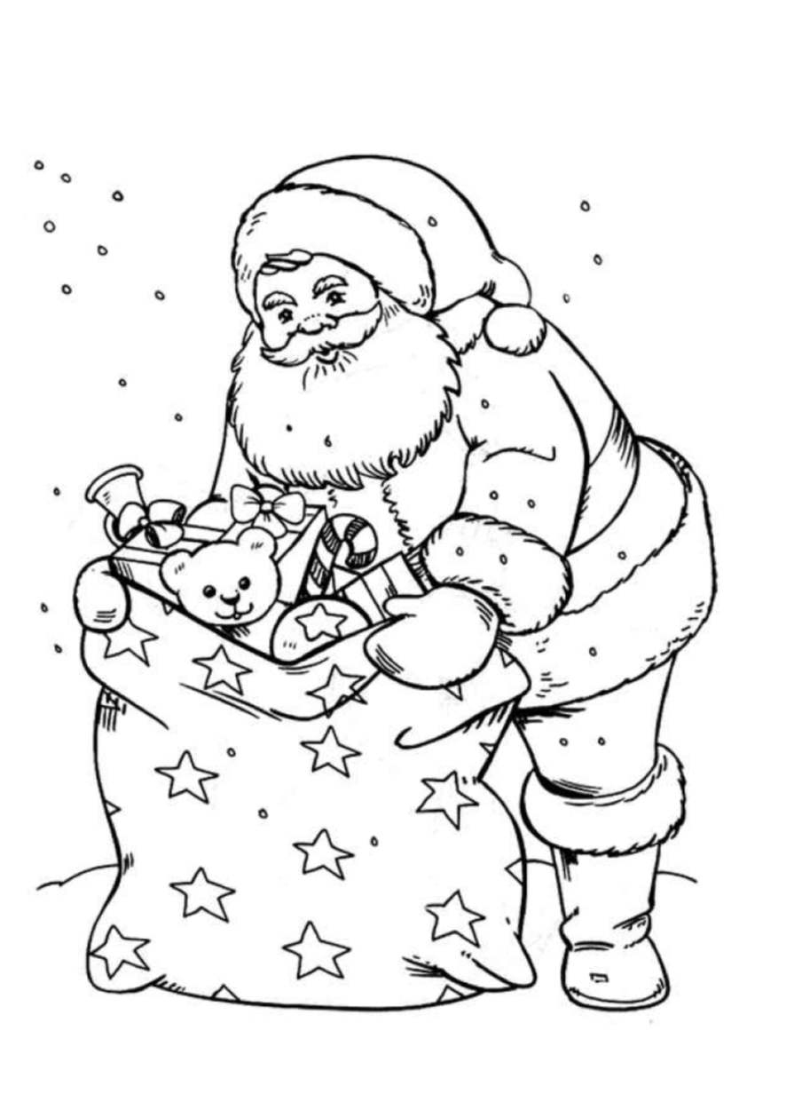 Père Noël Et Sa Hotte - Coloriage Père Noël - Coloriages dedans Pere Noel À Colorier Et Imprimer