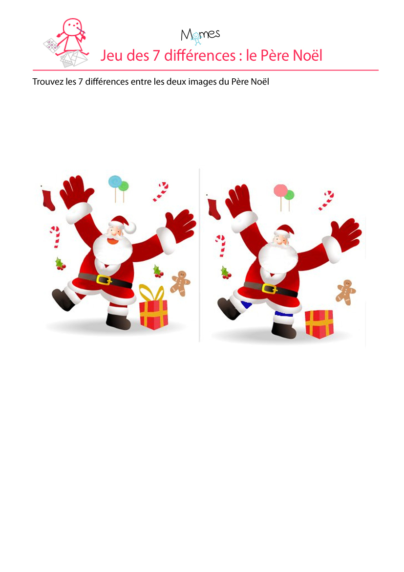 Père Noël : Jeu Des 7 Erreurs - Momes intérieur Jeux Des 7 Difference