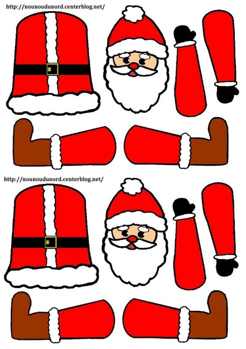 Père Noël Pantin À Colorier Ou En Couleur Petits Modèles: intérieur Pere Noel A Decouper