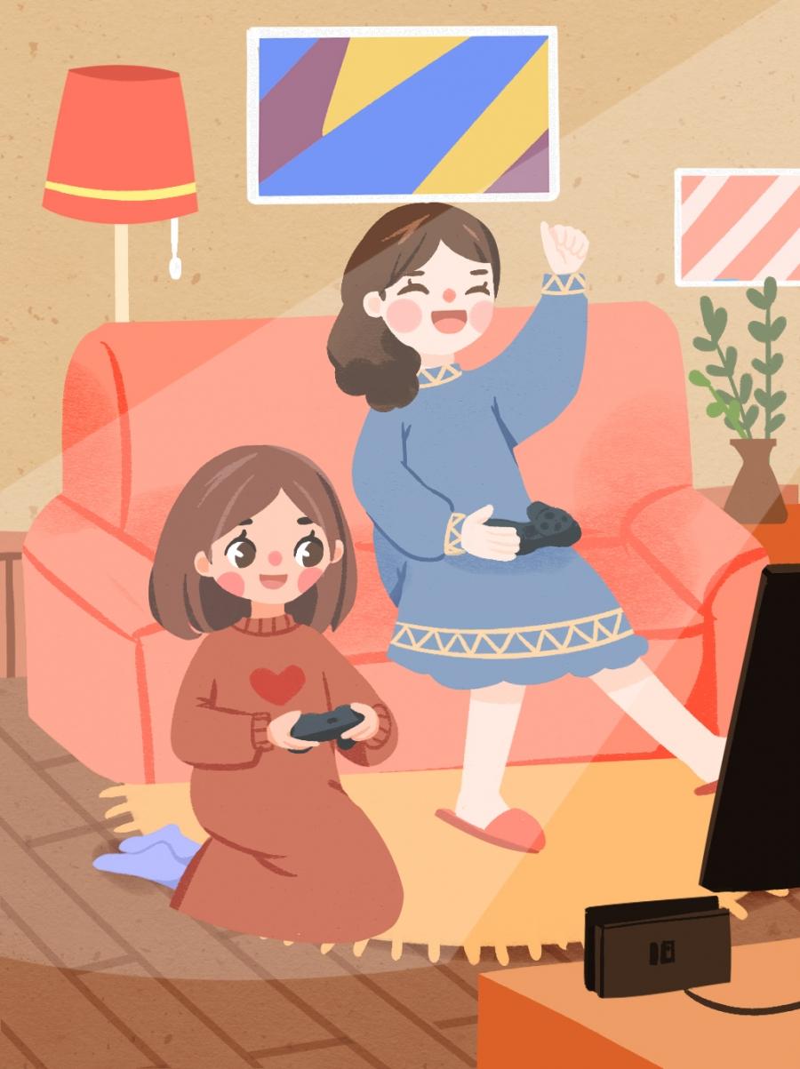 Petite Amie Jouer À Des Jeux Canapé Fille, Jouant, De, Jouer destiné Jouer A Des Jeux De Fille