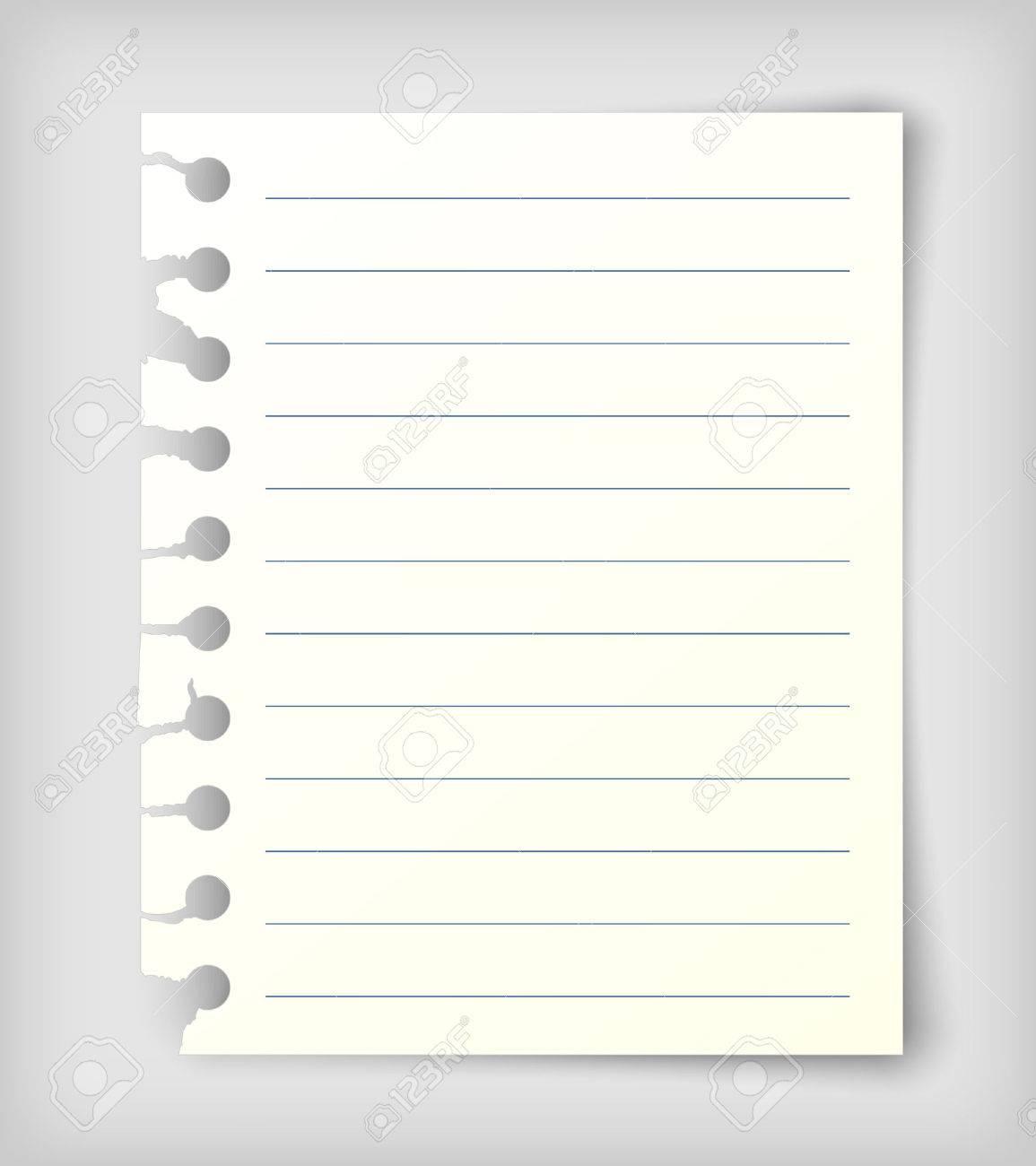 Petite Feuille De Papier À Lettre Avec Des Lignes. Réaliste Illustration  Vectorielle. destiné Feuille Ligne Lettre