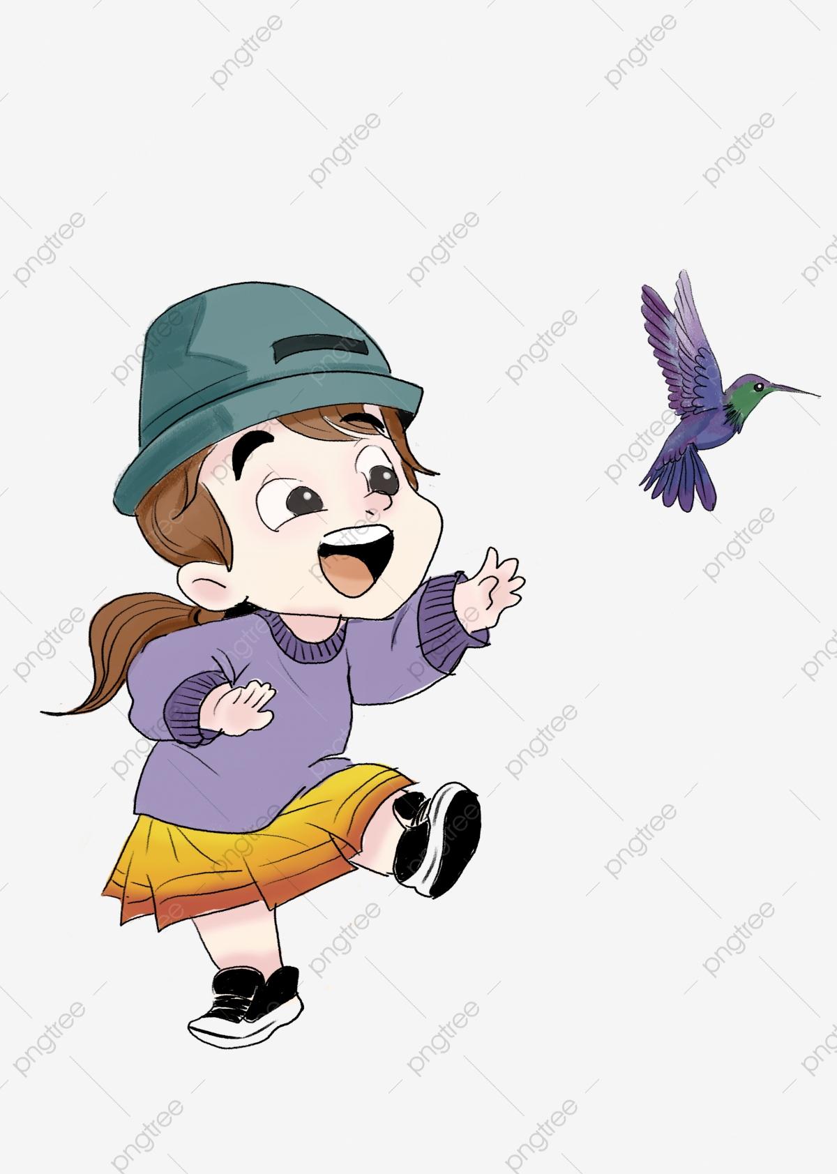 Petite Fille Jouant Petit Oiseau Jeu En Plein Air Personnage serapportantà Jeux De Fille Gratuit D Animaux