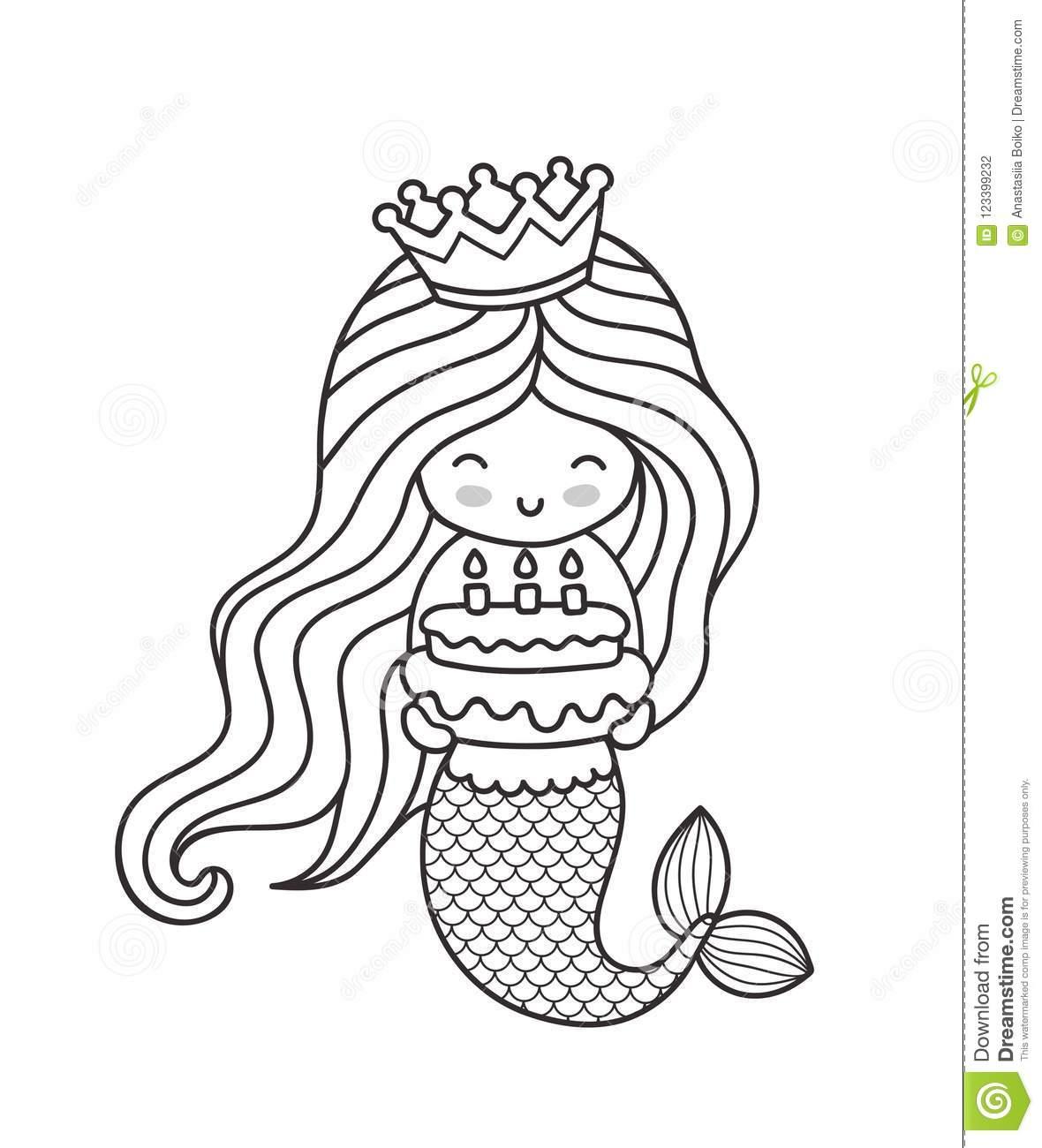 Petite Sirène Heureuse De Princesse, Tenant Un Gâteau D destiné Coloriage Princesse Sirene
