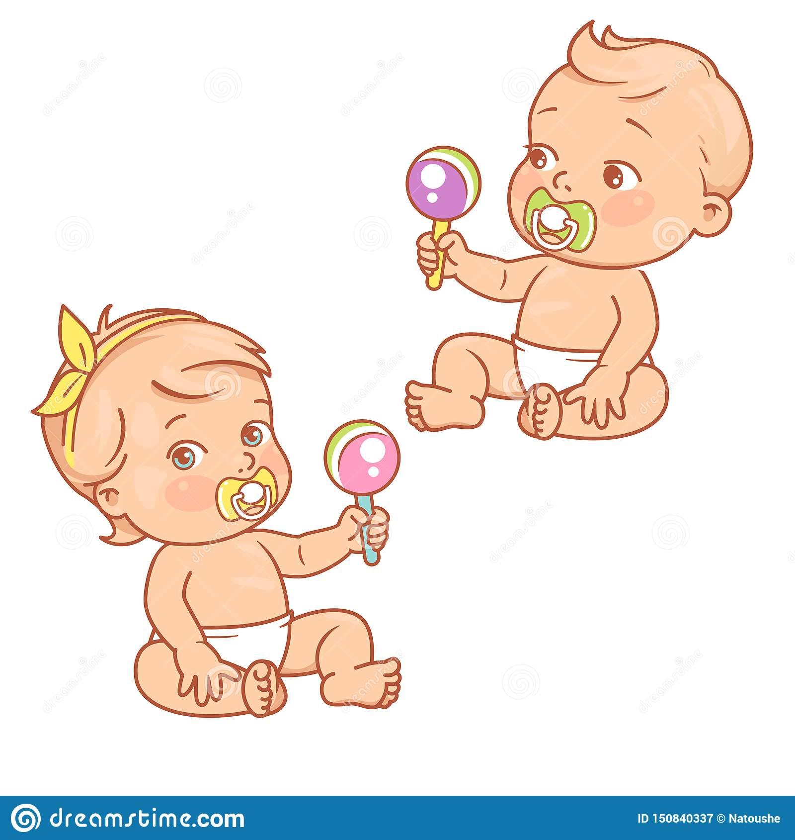 Peu Bébé Garçon Et Fille Dans Le Jeu Se Reposant De Couche serapportantà Jeux Bebe Fille