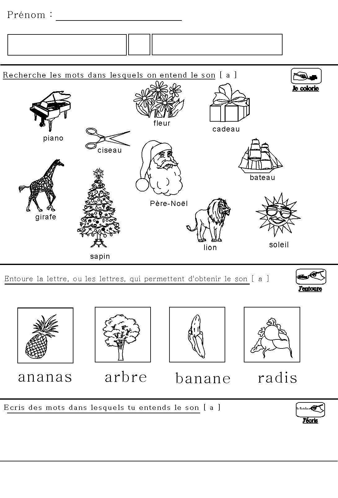 Phonologie : Fiche Maternelle Sur Le Son [A] Pour Maternelle à Fiche Maternelle Grande Section