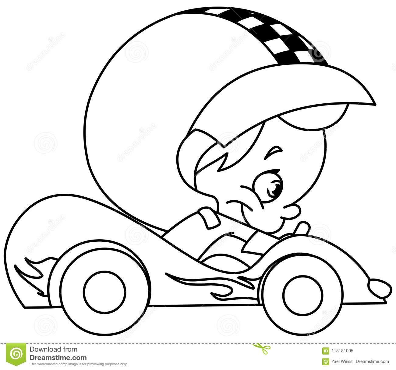 Pilote De Voiture De Course Décrit D'enfant Illustration De dedans Course De Voiture Pour Enfant