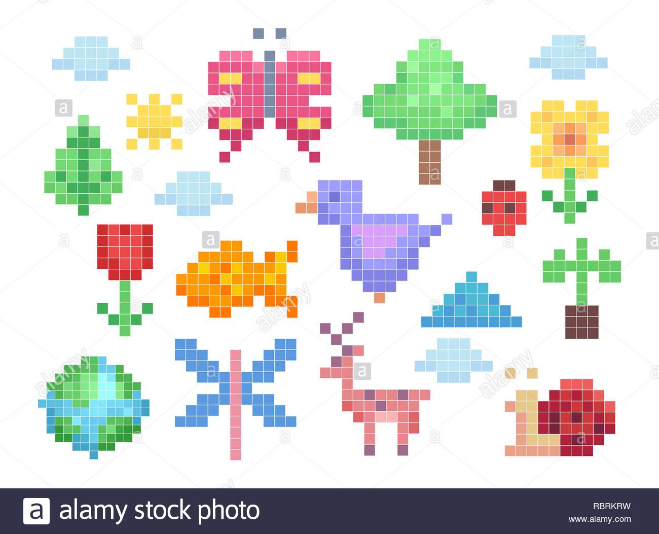 Pixel Art Animals Photos & Pixel Art Animals Images - Alamy pour Pixel Art Flamant Rose