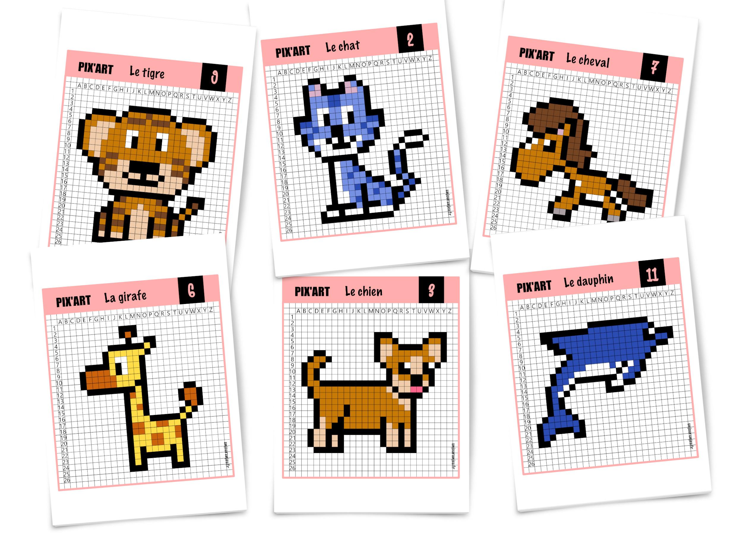 Pixel Art Animaux : 12 Modèles À Télécharger Gratuitement avec Jeux Enfant Animaux
