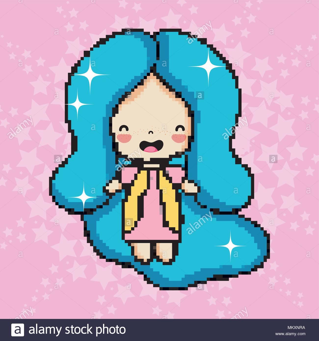 Pixel Art Cute Girl Stock Vector Art & Illustration, Vector destiné Pixel Art Facile Fille