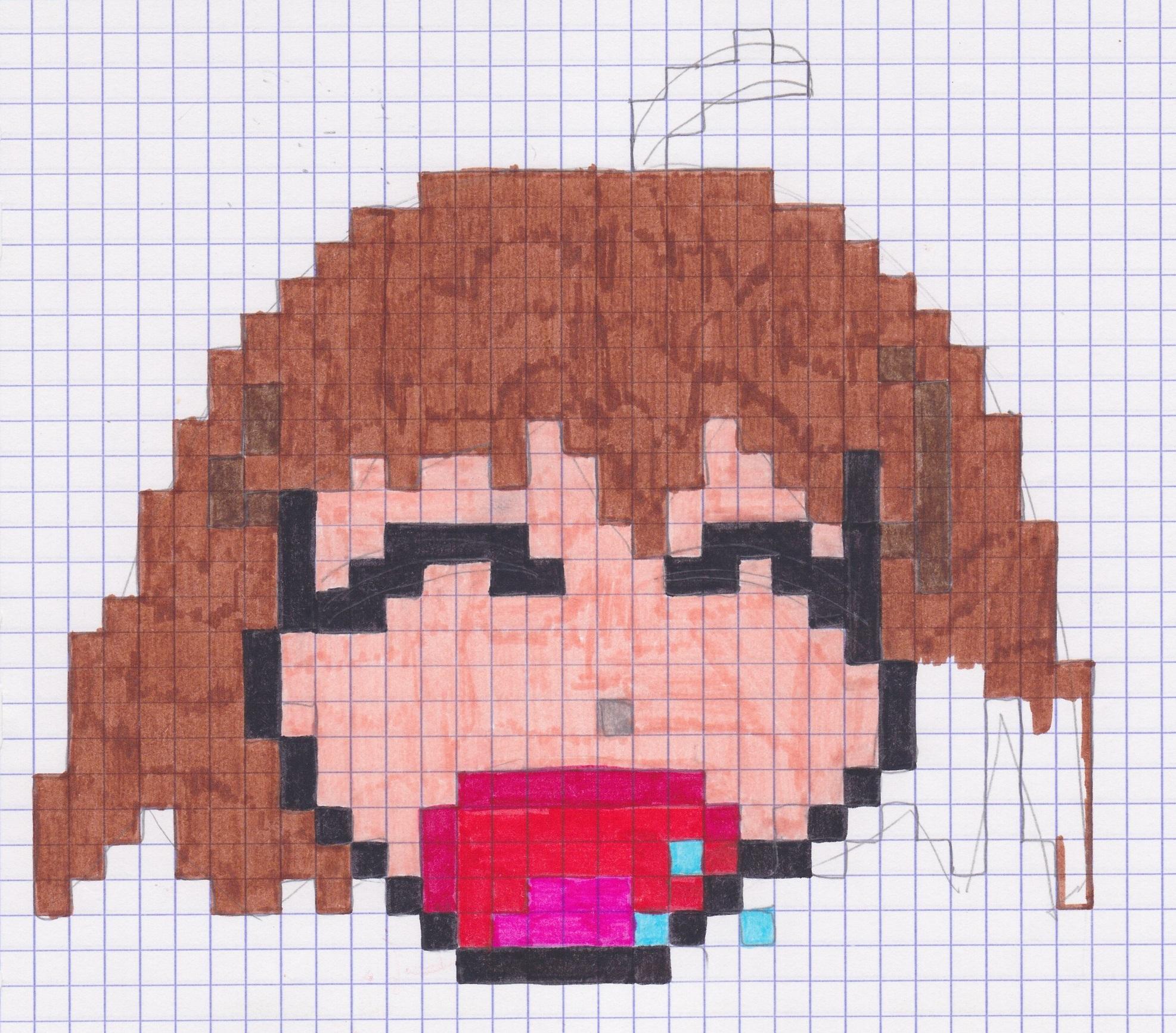 Pixel Art D'une Fille Qui Baille - Monde Créatif tout Pixel Art Facile Fille