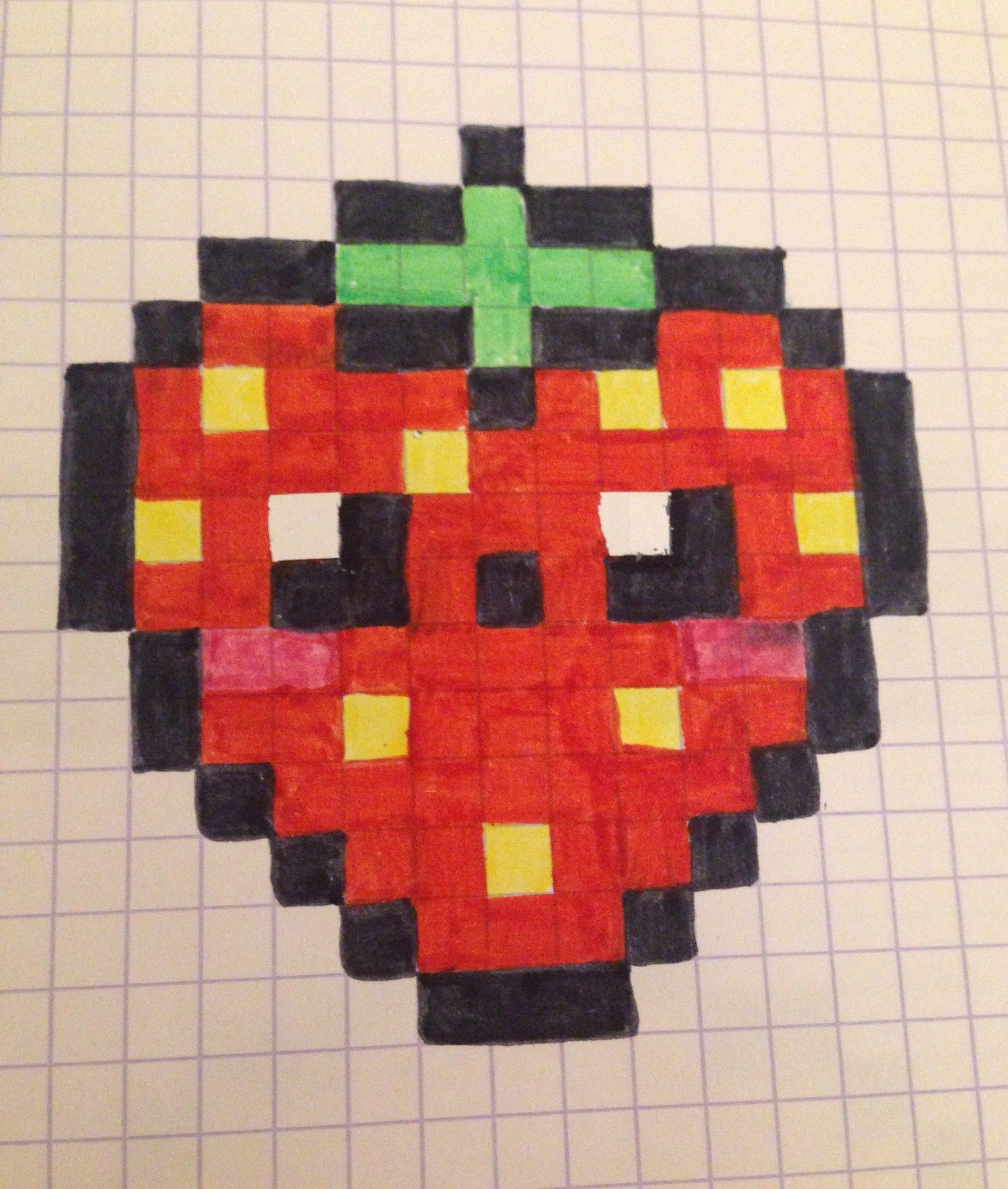 Pixel Art D'une Fraise Kawaï | Pixel Art, Pixel Art Fraise dedans Pixel Art Fraise