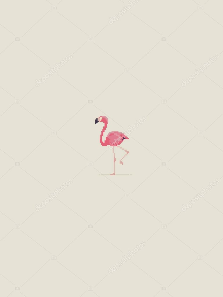 Pixel Art Flamingo   Pixel Art Flamingo — Stock Vector avec Pixel Art Flamant Rose